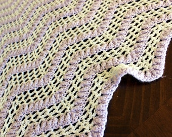 Soft Vintage Crochet Baby Blanket or Lap Throw, Lavender Colored 13785