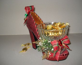 sparkling red holiday high heel candy dish