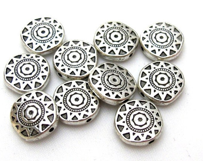 10 Beads- Round disc shape silver color dual sided sun chakra design beads  - BD413
