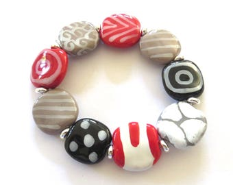 Kazuri Bangle, Red Grey Black and White Ceramic Bracelet