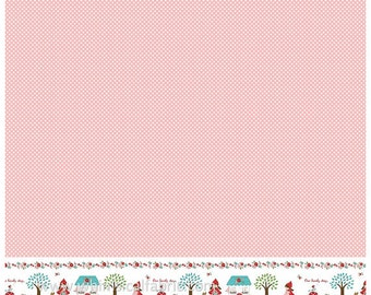 PADDED Ironing Board Cover standard size board 15 x 54, select with or without border, red riding hood print soft pink with small white dots