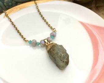 Raw Stone Necklace, Semi Precious Stone, Beaded Necklace, Gift Ideas, Handmade Necklace
