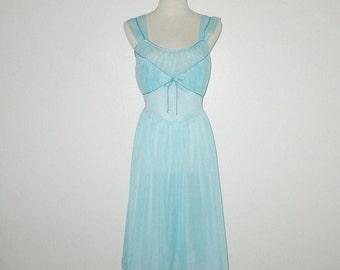 Vintage 1950s Nightgown / 50s Aqua Blue Nightgown / 50s Aqua Nylon Nightgown By Gotham Gold Stripe - S, M
