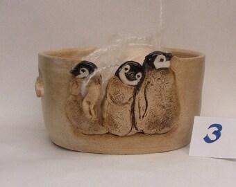 Baby Penguins Yarn bowl No.3, Stoneware Ceramic Yarn Bowl,