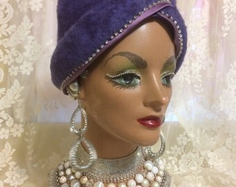 Stunning Velour Turban Hat