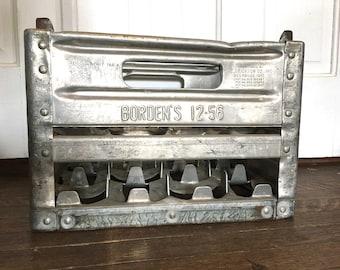 Vintage Bordens 1956 Metal Milk Crate