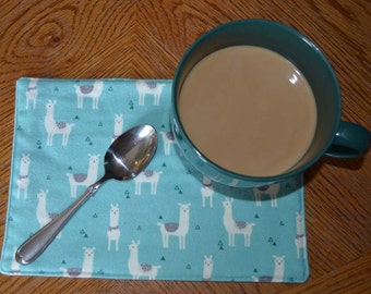 Mug Rugs 7x10 Inches 100% Cotton Flannel with cotton batting in the middle- Lama