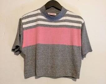 80s Color-Block Crop Top