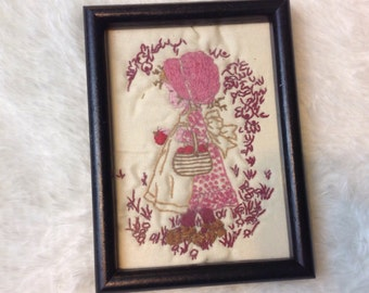 Vintage 70s 80s Embroidered Southern Girl Picture in Wooden 5 X 7 Frame Wall Hanging