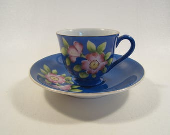 Vintage Demitasse Cup and Saucer Set Blue Made in Occupied Japan