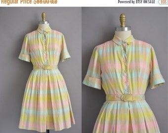 25% off SHOP SALE... 50s L'Aiglon pastel plaid cotton vintage dress / vintage 1950s dress