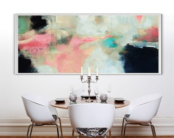 Large white black pink long Abstract acrylic painting on print, silver painting, blue and pink art on canvas,  large canvas print
