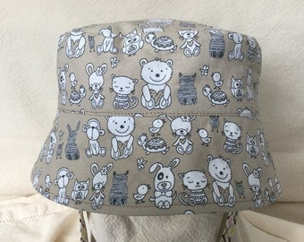 Animal Hat, Sun Hat with Chin Strap, Reversible Sun Hat, Sun Hat, Toddler Bucket Hat, Infant SunHat, Child Sun Hat, Monkey Toddler Hat