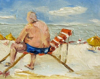 Beach People figurative oil painting Art by Delilah