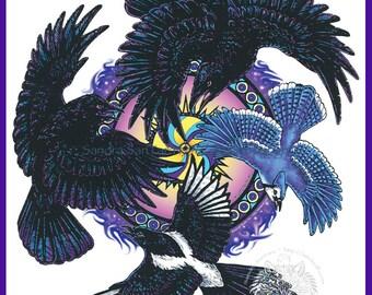 Raven Crow Magpie Jay Totem Wheel Print