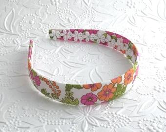 Cute Floral Girls Fabric Covered Headband ~ Pink, Green and Orange Headband