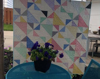 "PINWHEELS BABY QUILT, 47"" x 47"", 1930's Reproduction Fabrics, Lap Size Quilt, Baby Blanket, Scrappy Patchwork Quilt, Traditional, Handmade"