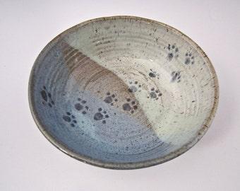 Pet Feeding Bowl - Stoneware Shallow Dish - Blue Green Ceramic Pottery - Handmade Pet Cat Dog Dish - Paw Print Water Bowl - gift for pet