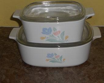 Vintage Pastel Flowers Corningware Casserole Dishes w/Lids-RARE