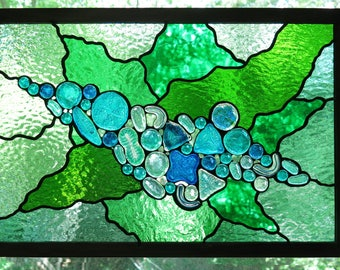 Diatom Plankton Stained Glass Panel Window Art