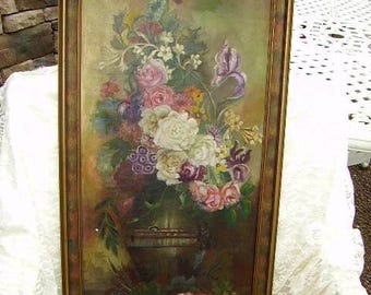"""SALE -Antique Roses Oil Painting On Canvas/Early 1900's Oil on Canvas Painting/Roses Painting/33"""" Long/Still Life Painting"""