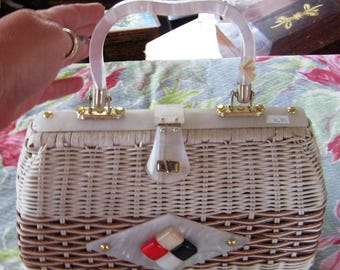 Summer Fun Wicker Purse Red White Blue Lucite Handle