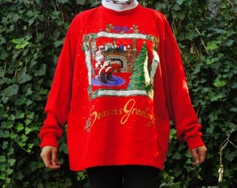 Vintage 90s Ugly Christmas Sweater Sweatshirt with Turtleneck Holiday Party shirt Hippie Kitsch