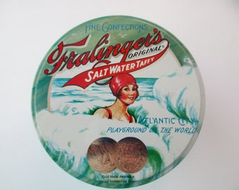vintage souvenir Fralinger's Salt Water Taffy candy tin- swimmer, beach, ocean, blue, aqua