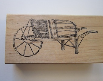 vintage rubber stamp - WHEELBARROW - Lisa Hindsley Stampourri
