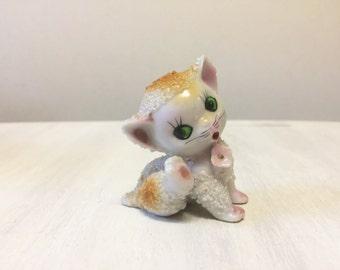 Spaghetti cat, cat figurine, vintage cat, porcelain cat, vintage figurine, cat collectible, kitsch cat figure, kitten figurine, cat ornament