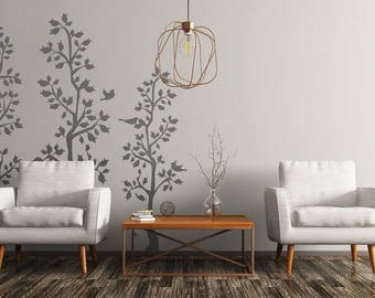 Vinyl Wall Sticker Decal Art - Spring Trees with Leaves and Birds