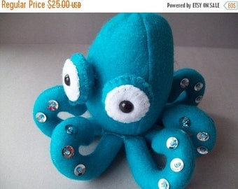 ON SALE Octopus stuffed animal - Teal with silver