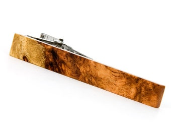 Amboyna Burl Tie Clip - Wood Tie Clip - One Of A Kind - Unique Gift for Wedding, Anniversary, Groomsmen, Groom, Fathers Day
