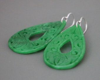 Unique Chinese Pattern Green Jade Teardrop Earrings, Carved Green Jade Earrings, Big Jade Earrings, Jade Earrings, Jade Jewelry
