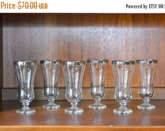 SALE 20% OFF vintage 1960s silver rimmed hurricane style champagne glasses