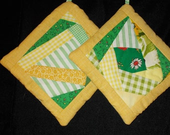 POTHOLDERS (#6) Green Yellow Crazy Quilt Traditional Pattern, Appalachian Made  Abstract Modern Spring Colors Contemporary Cottage Farm Deco