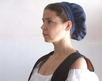 renaissance muffin cap hat medieval caul blue linen renaissance faire -ready to ship-