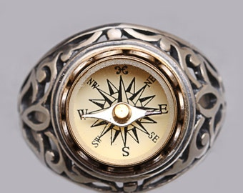 Sterling Silver Ring Compass Ring Sterling Compass Ring Mens Compass