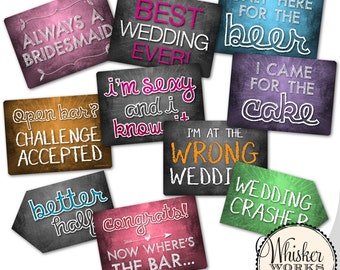 Plastic Photo Booth Phrases - WEDDING MIX - Set of 5 signs
