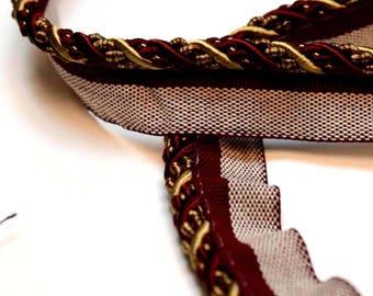 Red & Gold Decorative Lip Cord Trim 1009T 7112