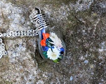 Teardrop glass vial pendant - necklace, real flowers, floral, jewelry, boho, bohemian, terrarium, silver, women accessories