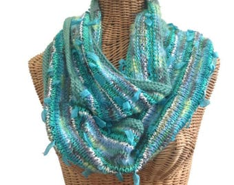 Aqua Scarf Infinity Scarf Knitted Wool Scarf Abalone Cowl Hand Knit Scarf Hand Tied Yarn Mohair Scarf Knit Neck Warmer Boutique Scarf