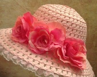 2017 Design -Girls Pink Tea Hat - Sun Hat - Easter Hat