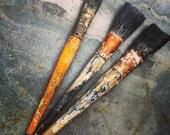 Vintage Paint Brushes / Wooden Handles / Hardwood Handled Brushes / Set of Three