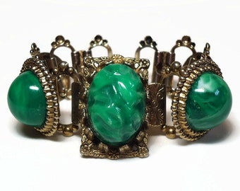 50s Gold Renaissance Malachite Bracelet with Cabochon & Baroque Green Stones Bezel Set in Book-Linked Metal - Vintage 50's Costume Jewelry