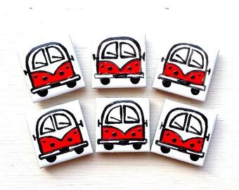Campervan Magnet Red, Combi Magnet, Splitscreen, Wedding Favours, Fridge Magnet, Refrigerator Magnet