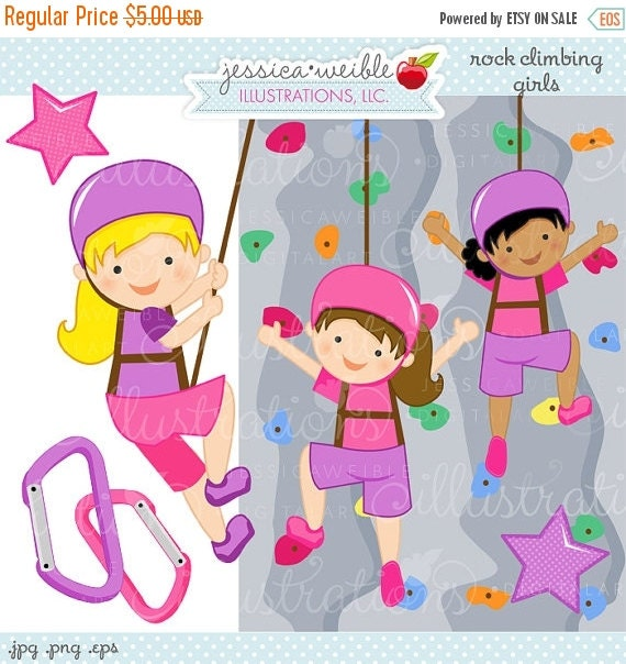 ON SALE Rock Wall Climbing Girls Cute Digital Clipart - Commercial Use OK - Rock Wall Climbing Graphics