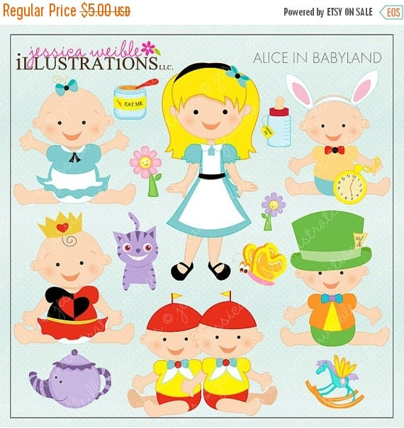 ON SALE Alice in Babyland Cute Digital Clipart for Card Design, Scrapbooking, and Web Design
