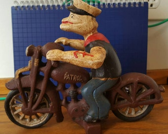 Vintage Cast Iron Popeye On Motorcycle