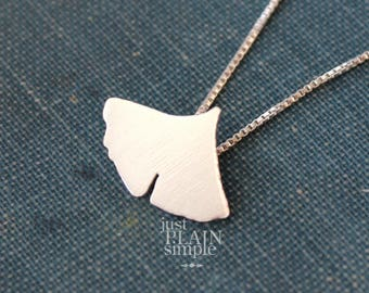 Ginko leaf necklace, sterling silver nature pendant, handmade every day wear